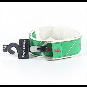Kids Ralph Lauren Green Ribbon Belt w/ Pink Whales
